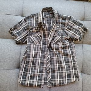 MICROS button down short sleeve size L